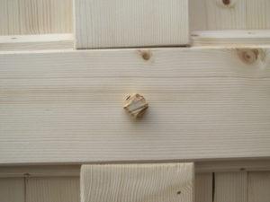 Giebelkonstruktion mit Holznagel als Verbindung